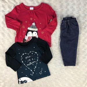 Carter's Gymboree Baby Girl Bundle Penguin Shirt